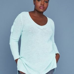 Lane Bryant Lace Up Sleeve V-Neck Sweater 22/24